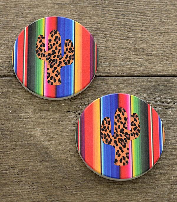 New Arrival :: Wholesale Serape Leopard Cactus Car Coaster