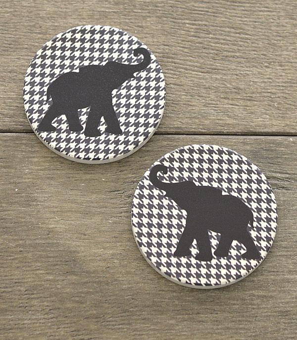 New Arrival :: Wholesale Elephant Houndstooth Car Coaster Set