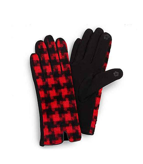 GLOVES/ARM WARMERS :: Wholesale Houndstooth Smart Touch Gloves