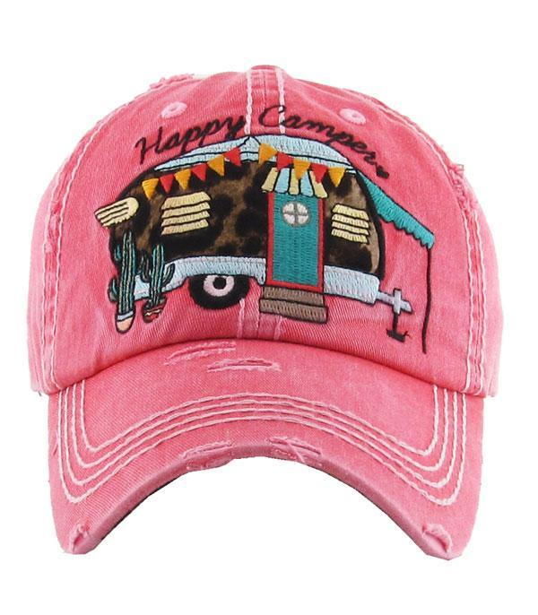 New Arrival :: Wholesale Leopard Happy Camper VIntage Hat