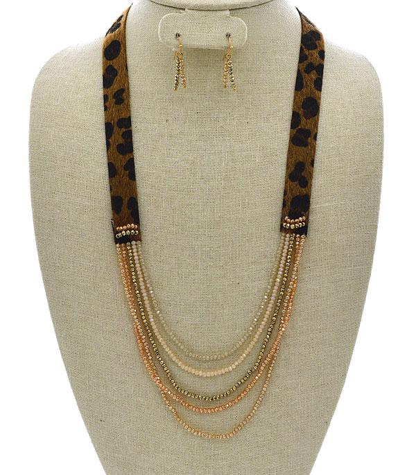 New Arrival :: Wholesale Multi Row Glass Bead Leather Necklace