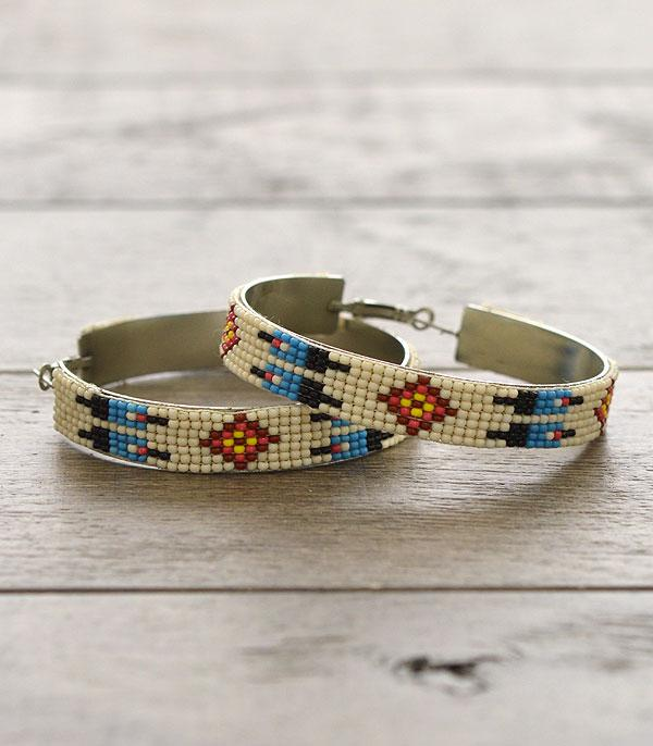 New Arrival :: Wholesale Aztec Seed Bead Hoop Earrings