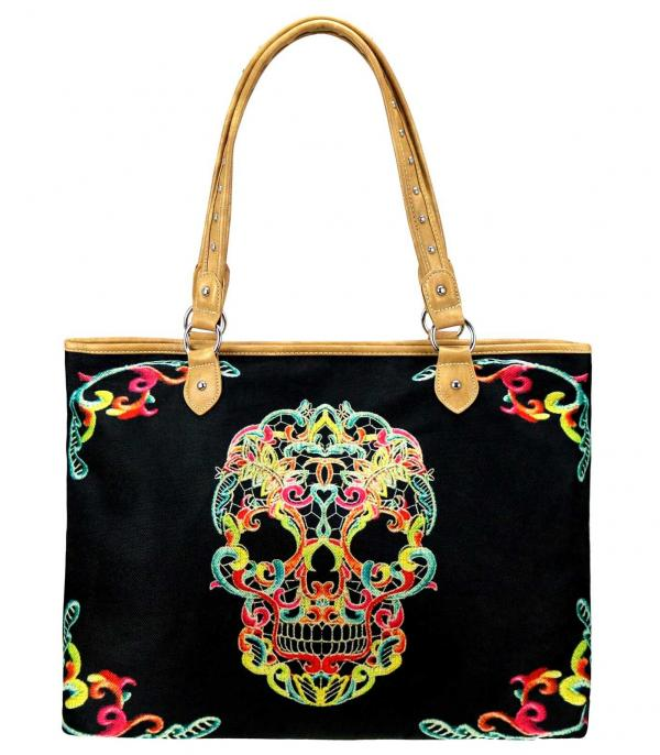 MONTANAWEST BAGS :: PICTURE CANVAS BAGS :: Wholesale Montana West Sugar Skull Canvas Tote