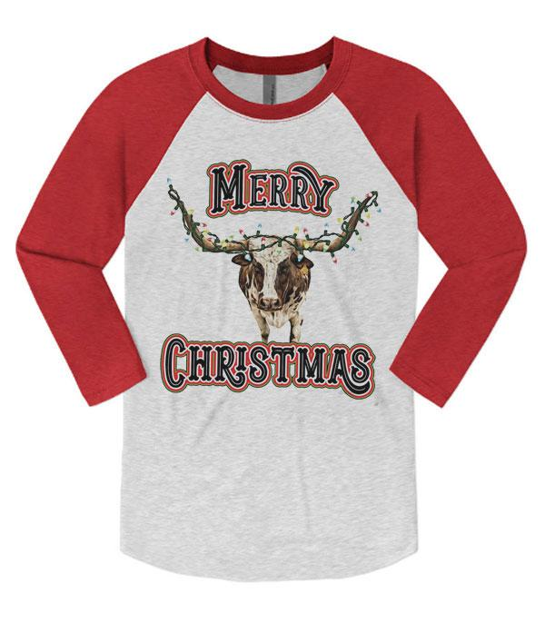 <font color=RED>SEASONAL</font> :: Wholesale Christmas Lights Cow Vintage Raglan