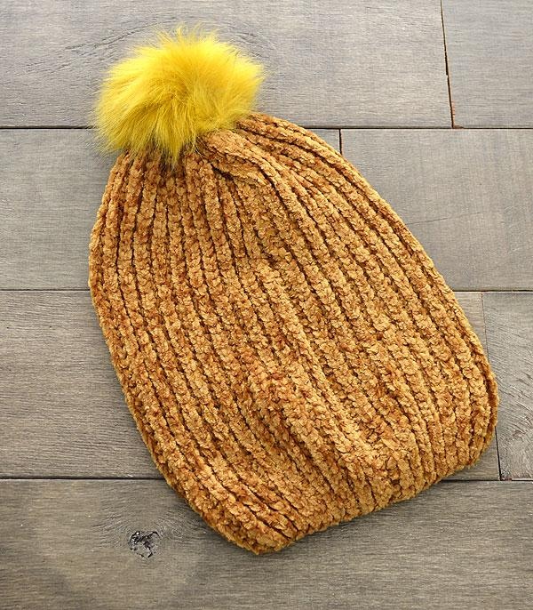 New Arrival :: Wholesale Soft Chenille Pom Beanie
