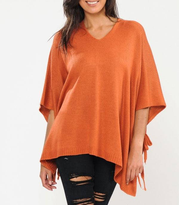 New Arrival :: Wholesale Knit Poncho w/Tassels