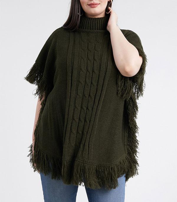 New Arrival :: Wholesale Turtleneck Cable Knit Poncho