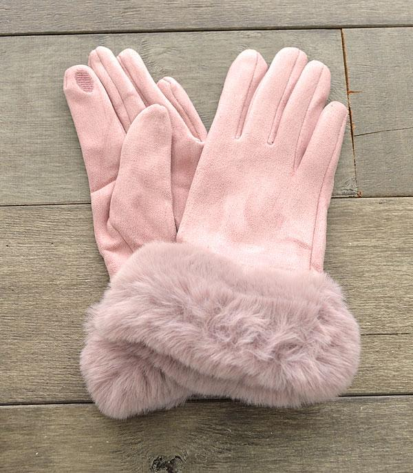 GLOVES/ARM WARMERS :: Wholesale Faux Fur Trim Glove