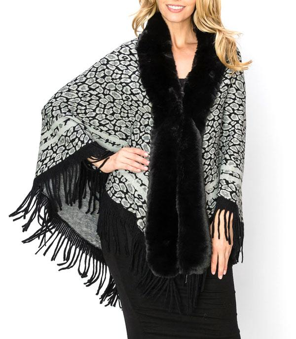 New Arrival :: Wholesale Leopard Print Fur Trim Poncho