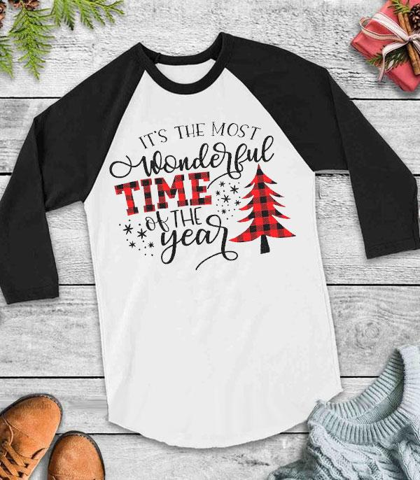 <font color=RED>SEASONAL</font> :: Wholesale Most Wonderful Time Christmas Raglan