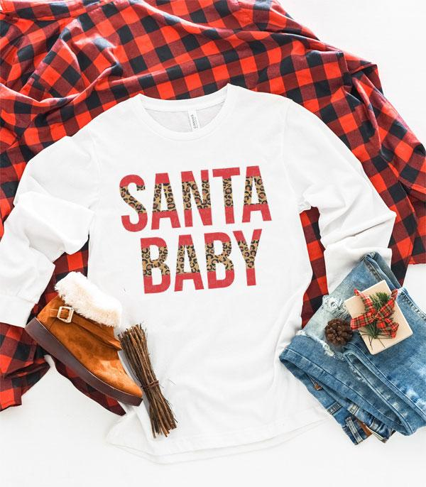 <font color=RED>SEASONAL</font> :: Wholesale Leopard Santa Baby Long Sleeve
