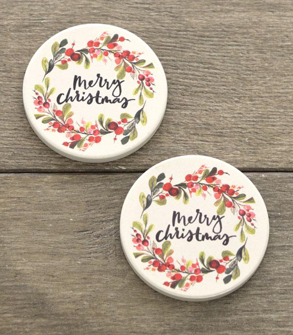 <font color=RED>SEASONAL</font> :: Wholesale Merry Christmas Car Coaster Set