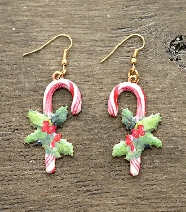 <font color=RED>SEASONAL</font> :: Wholesale Glitter Candy Cane Earrings