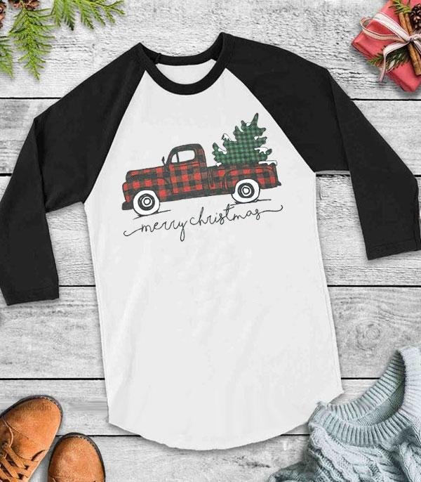 <font color=RED>SEASONAL</font> :: Wholesale Christmas Truck Vintage Raglan