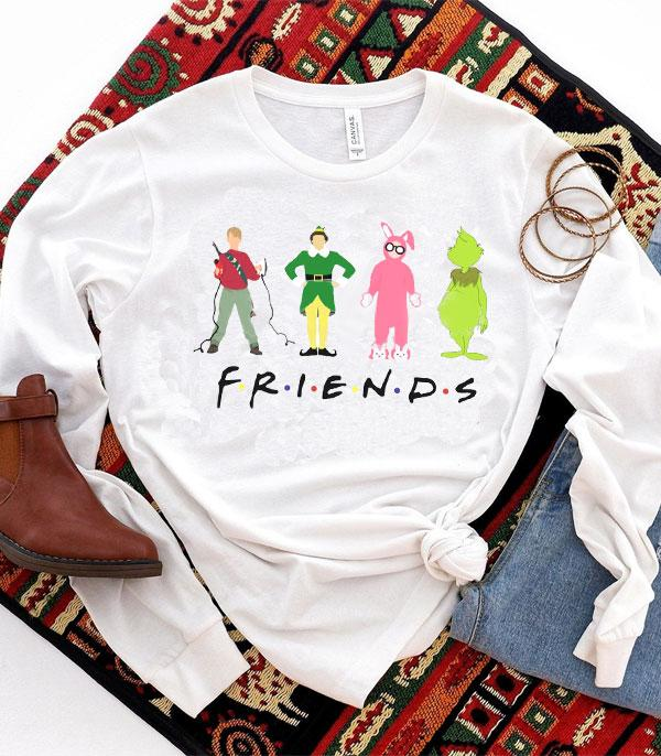 <font color=RED>SEASONAL</font> :: Wholesale Christmas Movie Friends Long Sleeve