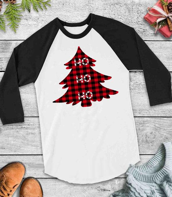 <font color=RED>SEASONAL</font> :: Wholesale Buffalo Plaid Christmas Tree Raglan