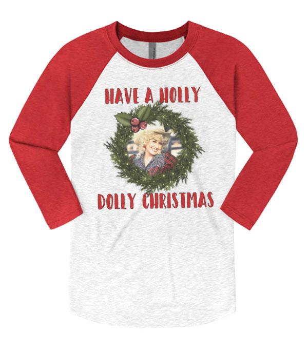 <font color=RED>SEASONAL</font> :: Wholesale Holly Dolly Christmas Vintage Raglan