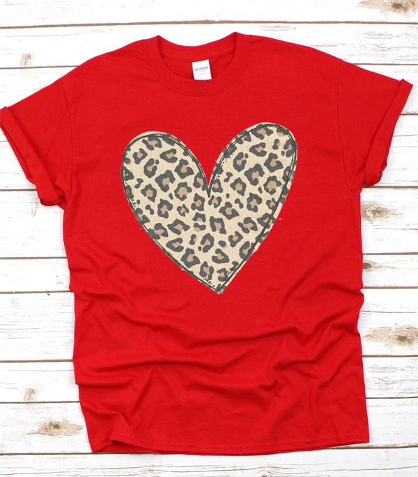 New Arrival :: Wholesale Heart Leopard Short Sleeve T-Shirt
