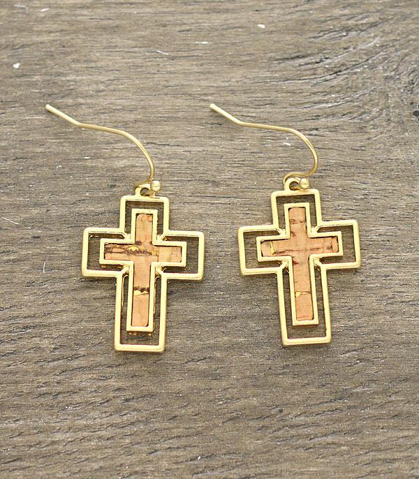 New Arrival :: Wholesale Cork Cross Gold Plated Earrings