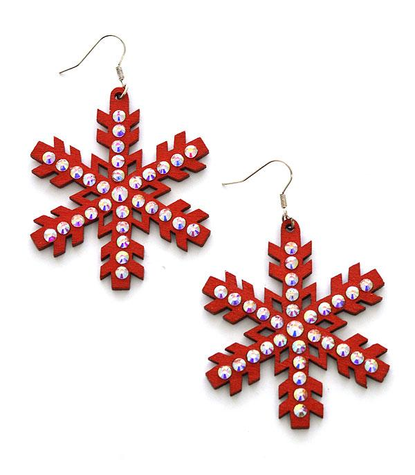 <font color=RED>SEASONAL</font> :: Wholesale Snowflake Bling Wood Earrings