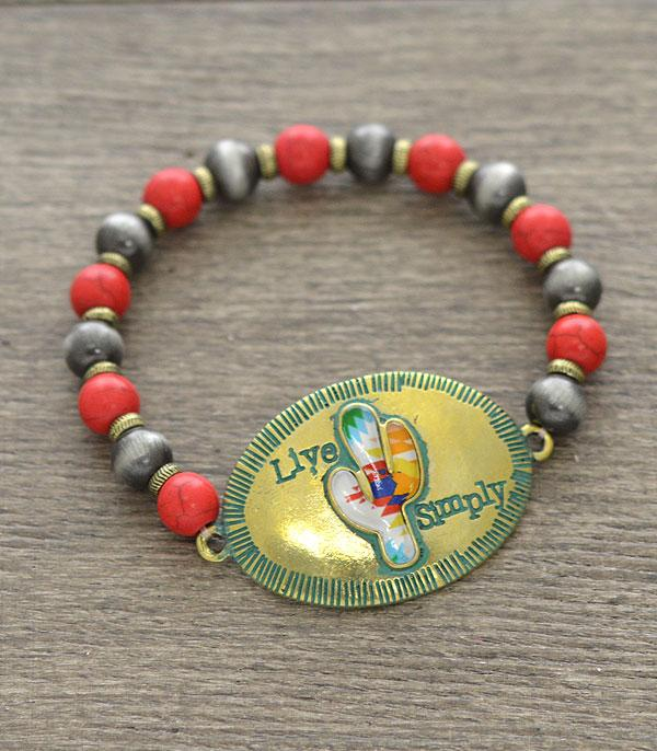 New Arrival :: Wholesale Live Simply Cactus Antiqued Bracelet