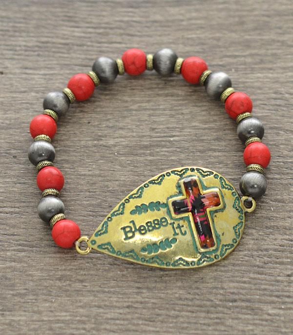 New Arrival :: Wholesale Bless It Cross Antiqued Bracelet