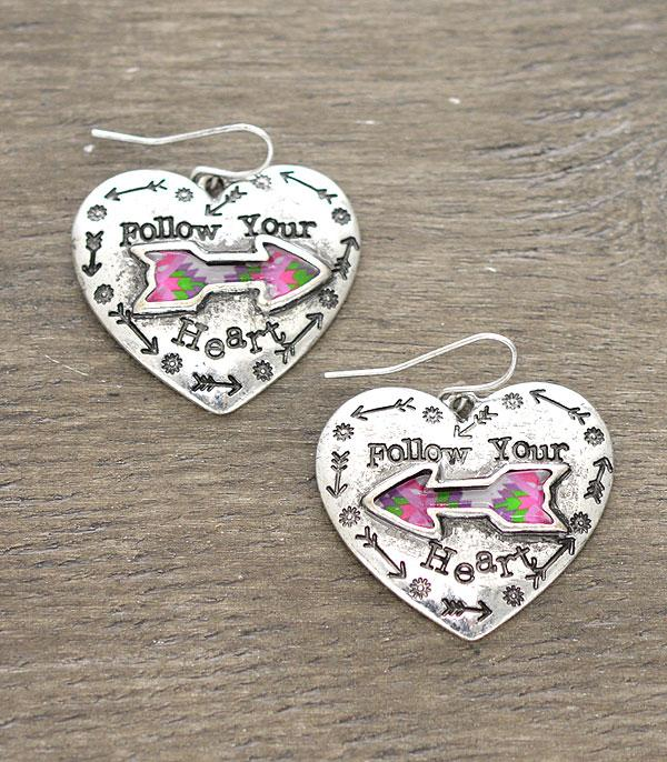 New Arrival :: Wholesale Follow Your Heart Antiqued Earrings