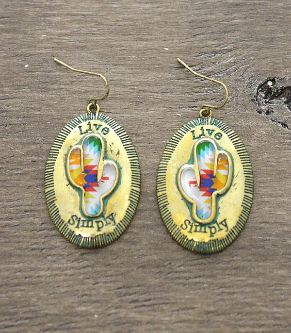 New Arrival :: Wholesale Live Simply Cactus Antiqued Earrings