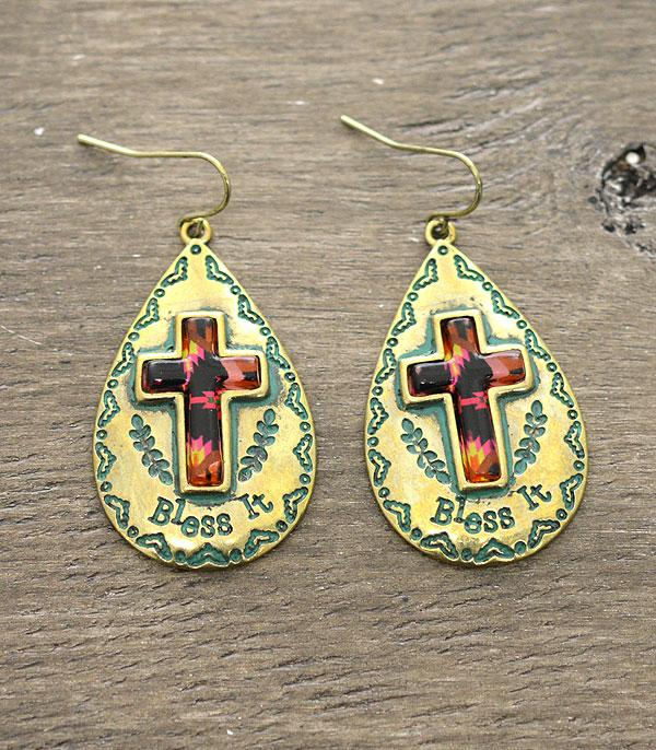 New Arrival :: Wholesale Bless It Cross Antiqued Earrings
