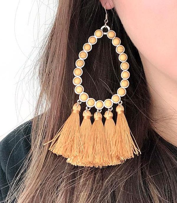 WHAT'S NEW :: Wholesale Tear Drop Stone Tassel Earrings