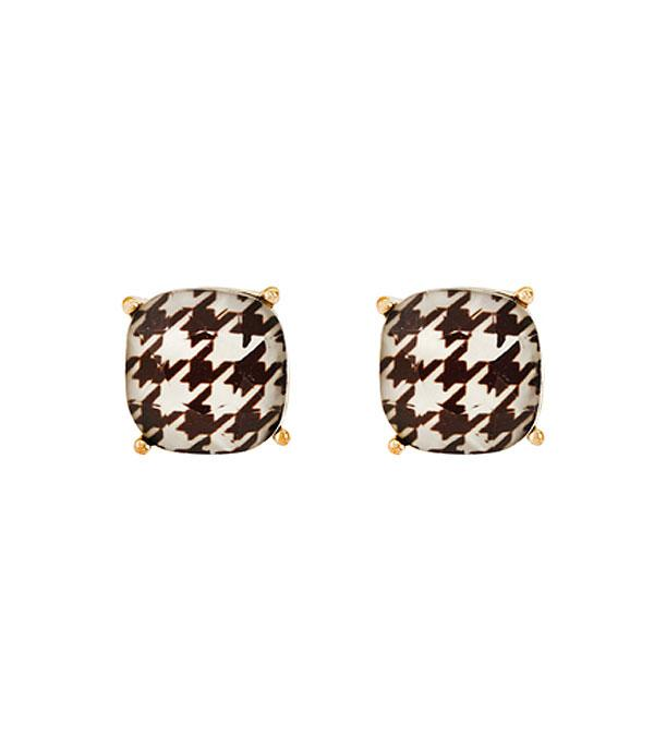 New Arrival :: Wholesale Houndstooth Pattern Cushion Cut Earrings