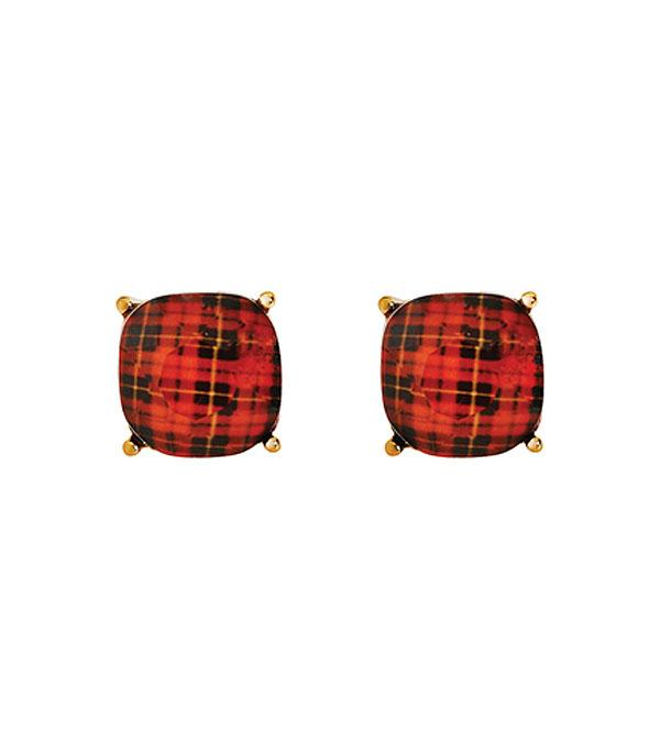New Arrival :: Wholesale Plaid Pattern Cushion Cut Earrings