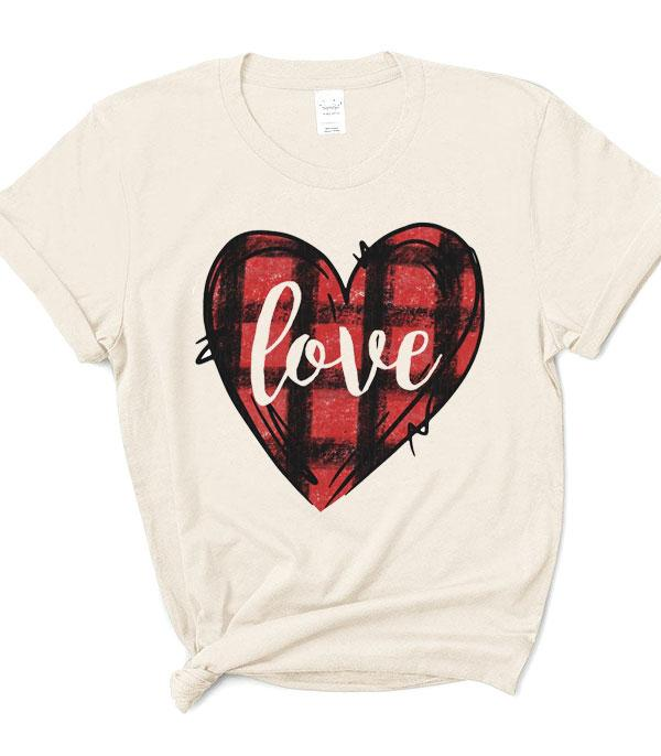 <font color=red>VALENTINE'S</font> :: Wholesale Plaid Love Heart Graphic T-Shirt