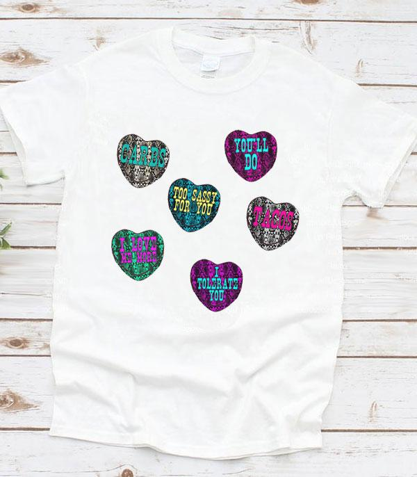 <font color=red>VALENTINE'S</font> :: Wholesale Western Candy Hearts Graphic T-Shirt