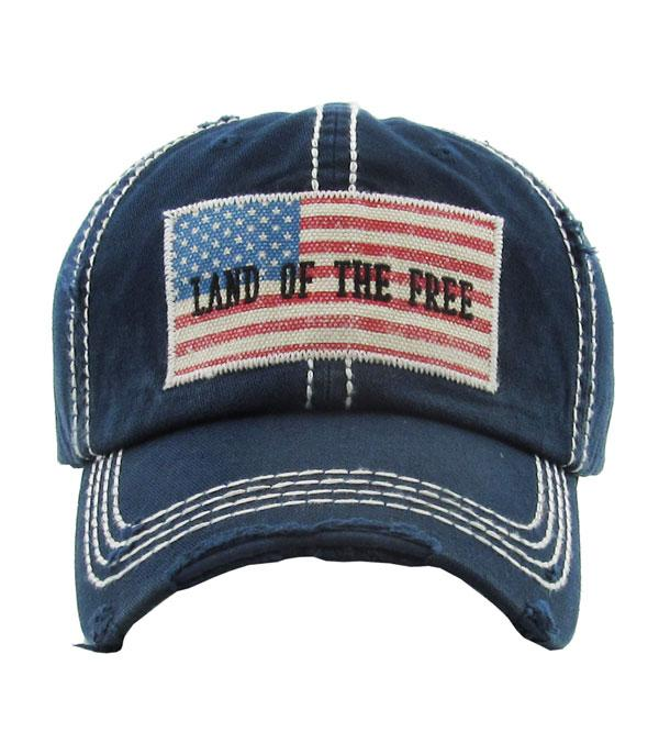 <font color=BLUE>RED,WHITE, AND BLUE</font> :: Wholesale Land Of The Free Flag Vintage Ballcap