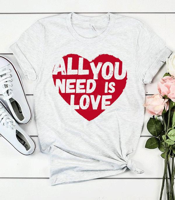 <font color=red>VALENTINE'S</font> :: Wholesale All You Need Is Love T-Shirt