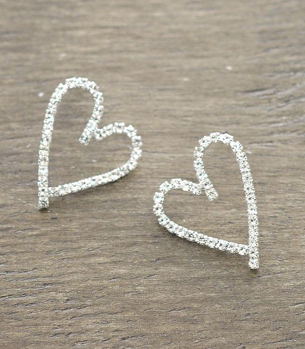 New Arrival :: Wholesale Rhinestone Heart Post Earrings