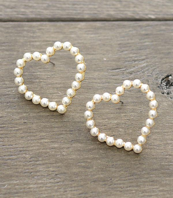 New Arrival :: Wholesale Heart Pearl Stud Earrings