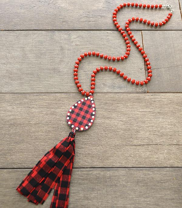 <font color=red>VALENTINE'S</font> :: Wholesale Buffalo Plaid Tassel Necklace