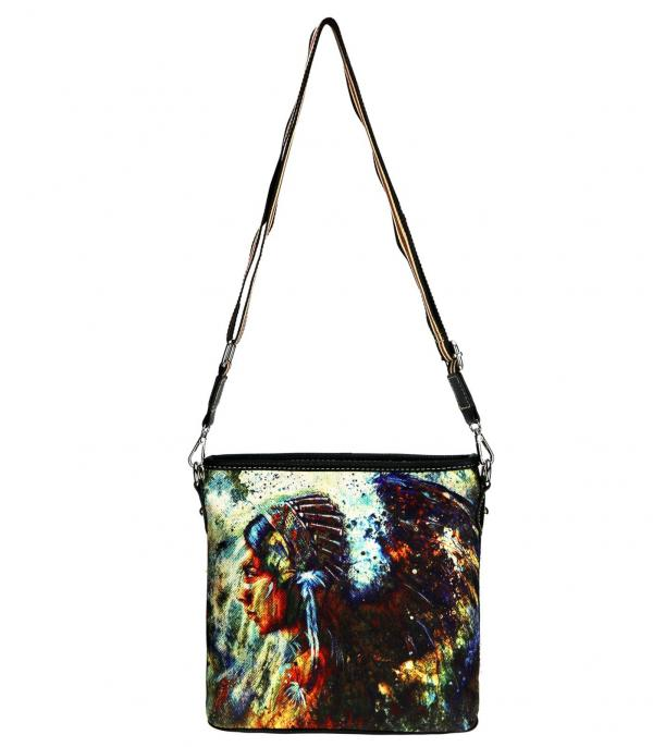 MONTANAWEST BAGS :: PICTURE CANVAS BAGS :: Montana West Indian Chief Canvas Crossbody