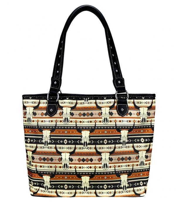 MONTANAWEST BAGS :: PICTURE CANVAS BAGS :: Wholesale Montana West Steer Skull Canvas Tote