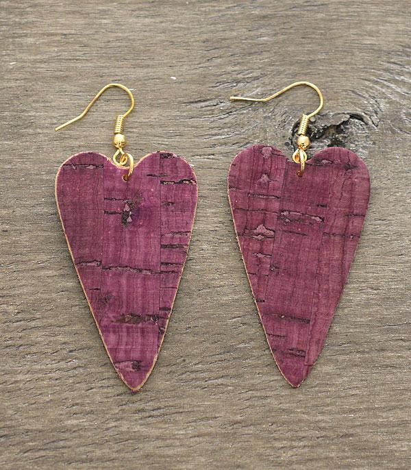 <font color=red>VALENTINE'S</font> :: Wholesale Heart Cork Dangle Earrings
