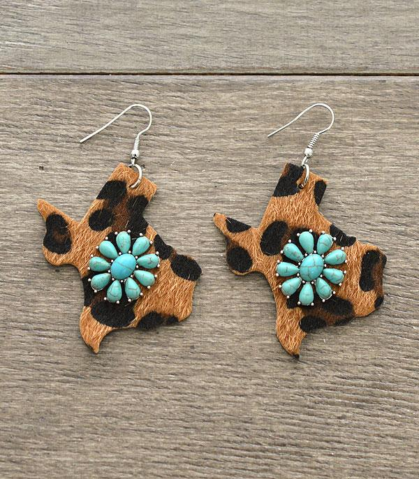 New Arrival :: Wholesale Texas Leather Turquoise Earrings
