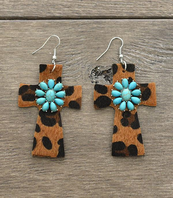 New Arrival :: Wholesale Leather Cross Turquoise Stone Earrings
