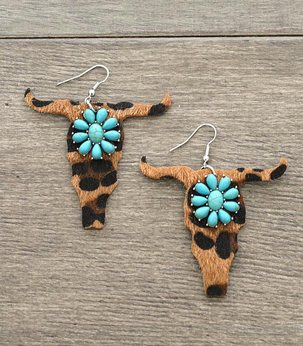 New Arrival :: Wholesale Leather Steer Head Turquoise Earrings