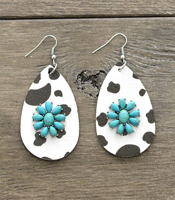 New Arrival :: Wholesale Leather Teardrop Turquoise Earrings