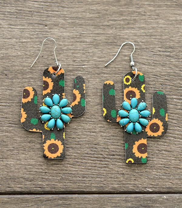 New Arrival :: Wholesale Leather Cactus Turquoise Earrings
