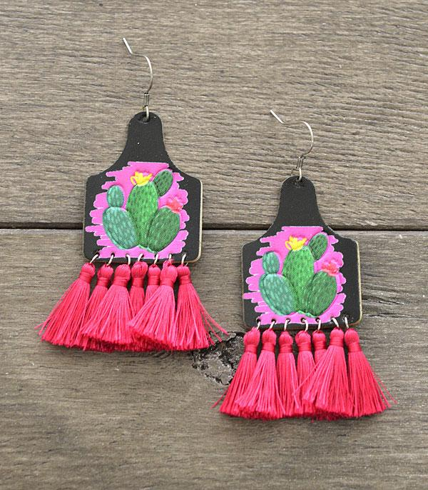 New Arrival :: Wholesale Leather Cactus Tassel Earrings