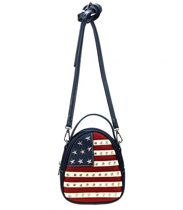<font color=BLUE>RED,WHITE, AND BLUE</font> :: Wholesale Montana West American Flag Crossbody Bag
