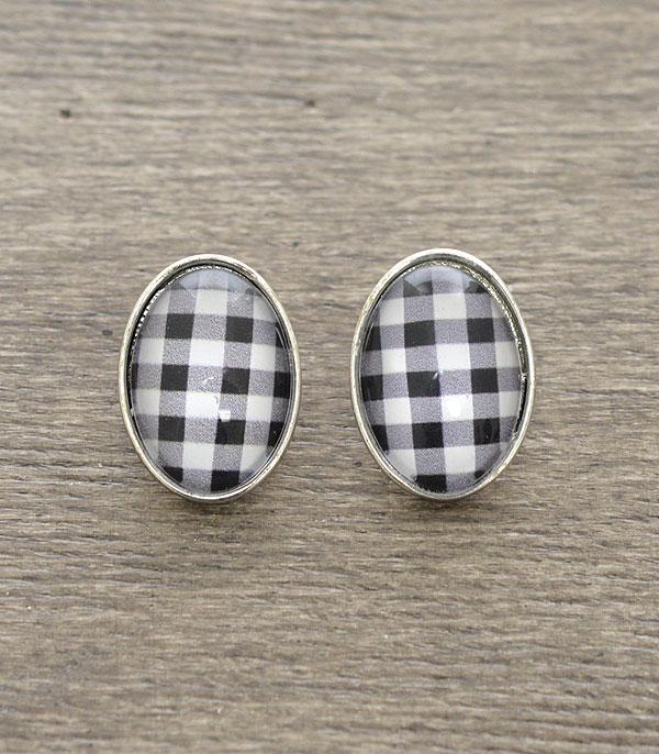 New Arrival :: Wholesale Buffalo Plaid Oval Stud Earrings